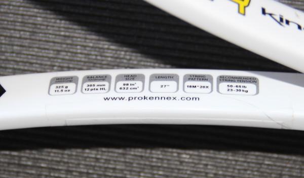 Spécifications de la raquette de tennis ProKennex Qtour 325 18x20
